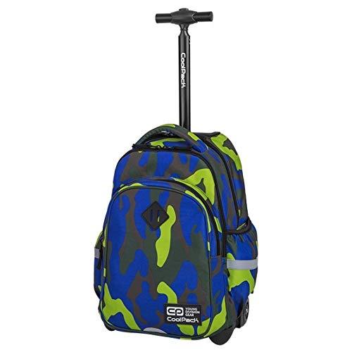 COOLPACK Junior 33L Trolley Rucksack Schulrucksack Kinderrucksack auf Rädern 46 x 31 x 19 cm Koffer Jungen Mädchen Jugendliche Teenager grün blau Moro