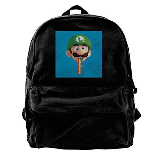 YANNAN Canvas Backpack Su-per Ma-Rio Luigi Puking Rainbow Snapchat Filter Rucksack Gym Hiking Laptop Shoulder Bag Daypack for Men Women