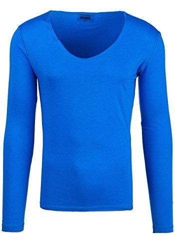 BOLF STEGOL Herren Longsleeve Langarm Shirt Slim Fit Pullover Sweatshirt 1A1 Mix Blau_547
