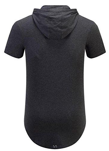 ... AIYINO Herren Kurzarm Langarm Hoodie T-Shirt 100% Baumwolle Kapuzenshirt  Dunkelgrau 80d356f3e5