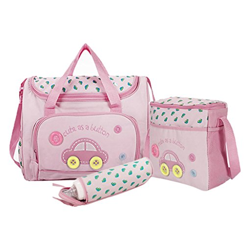 4pcs Bolsa de Mamá Momia Tote Nappie del Pañal del Bebé Cambiar Bolsas Establece - Rosa