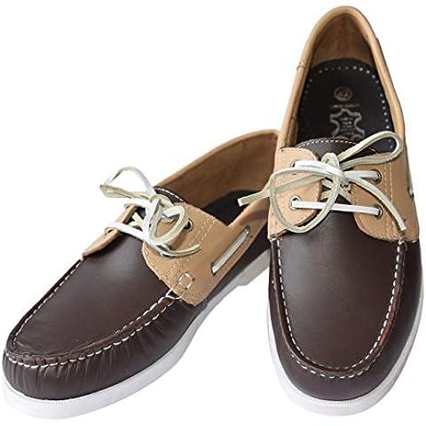 Color ocasional barco zapato masculino de cuero Beverly originales para hombre, Farbe:dunkelbraun / beige;Größe:40