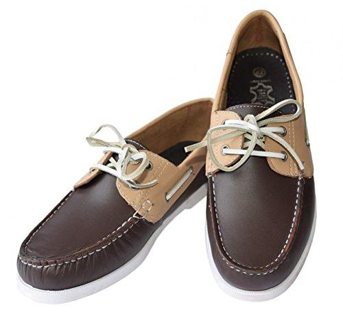 Beverley Originals Herren Leder Bootsschuh Mens Casual Colour dunkelbraun / beige