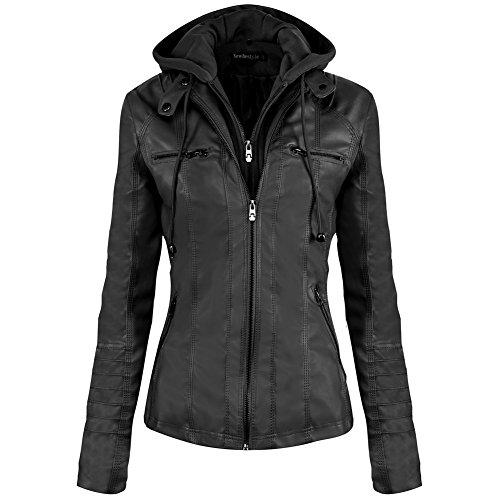 Newbestyle Jacke Damen Lederjacke Frauen mit Zip V Ausschnitt Kunstleder Bikerjacke Jacket Casual...