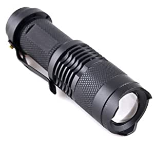 Buyincoins 1pcs Adjustable Focus Zoom CREE Q5 LED 200 Lumen Bright Mini Flashlight Torch Hiking BLACK