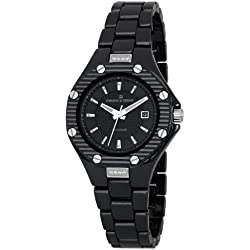 Herzog & Söhne HSV01-622 Women's Quartz Watch with Black Dial Analogue Display and Black Ceramic Bracelet HSV01-622