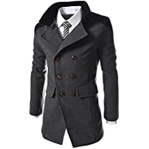 Chaqueta de Hombre Otoño Invierno Cálido Trench Abrigo Largo Sobretodo Overcoat Chaqueta de Traje Hombres Slim