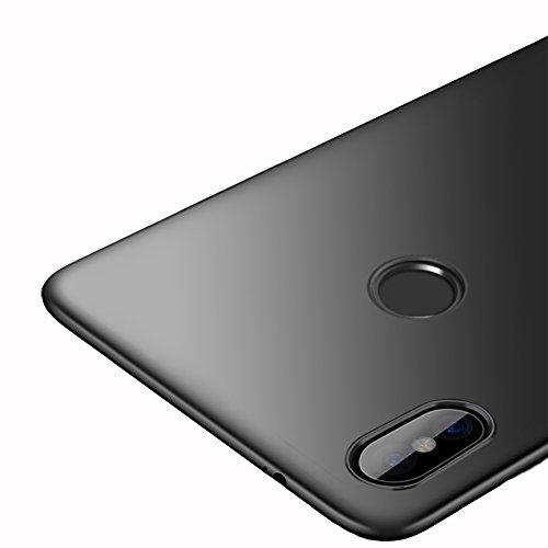 Vooway Schwarz Sehr Dünn Hülle Schutzhülle Case + Displayschutzfolie für Xiaomi Redmi Note 5 Pro (5.99