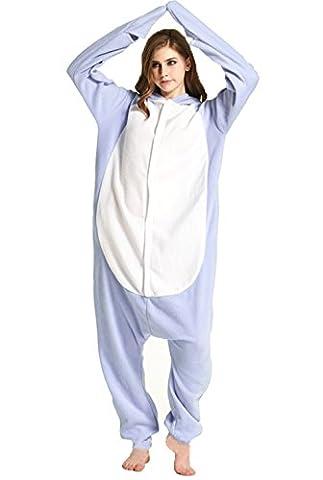 Honeystore Unisex Hai Kostüm Erwachsene Tier Jumpsuits Onesie Pyjamas Nachthemd Nachtwäsche Cosplay Overall Hausanzug Fastnachtskostüm Karnevalskostüme Faschingskostüm Kapuzenkostüm (Frauen-power Ranger Kostüm)