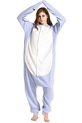 Honeystore Unisex Hai Kostüm Erwachsene Tier Jumpsuits Onesie Pyjamas Nachthemd Nachtwäsche Cosplay Overall Hausanzug Fastnachtskostüm Karnevalskostüme Faschingskostüm Kapuzenkostüm M (Fred Feuerstein Kostüm Für Frauen)
