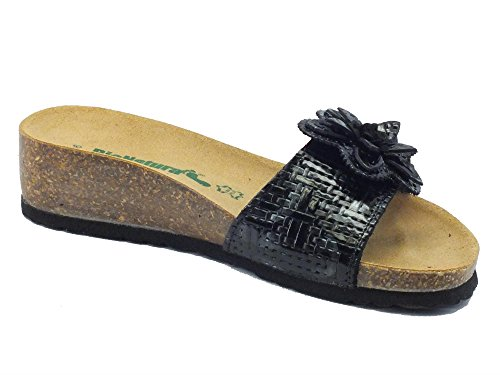 Sandali BioNatura per donna in pelle effetto intrecciata colore nero regolazione velcro Nero