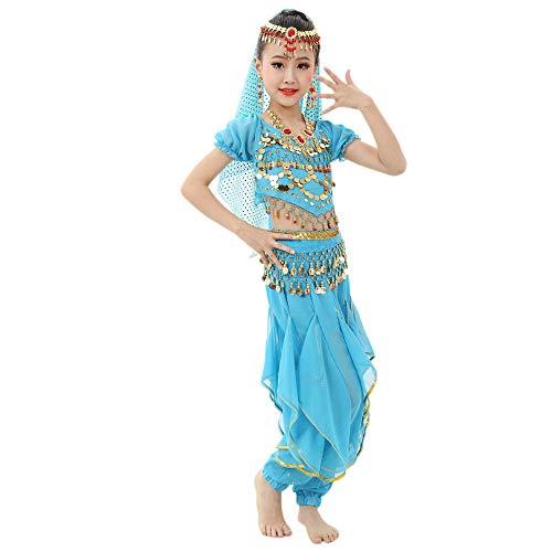Bauchtanz Kostüme Mädchen Performance Kleid Tanzkleid Kurzarm Top + Rüschen Pluderhosen 2 PCS Piebo Kinder Indische Bollywood Orient Kostüme Ägypten Belly Dance Pailletten Karneval Hochzeitsfestparty