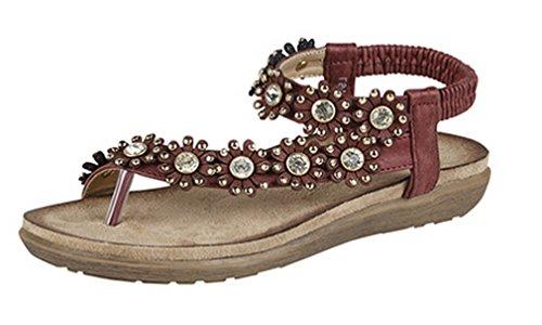 Damen-Sandale mit Strasssteinen, Blumen-Design, mit Zehensteg Rot