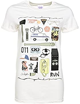 Womens Stranger Things Inspired Icons Ecru Boyfriend Fit T Shirt