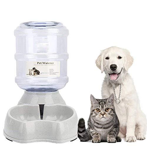 PLUY Automatischer Futterspender,Haustier Futterautomat,Futter und Wasserspender,Hund Schüssel,Automatik für Hund Katze im Set,jeweils 3.8 L,Gallonwaterer - 1 Gallone Licht
