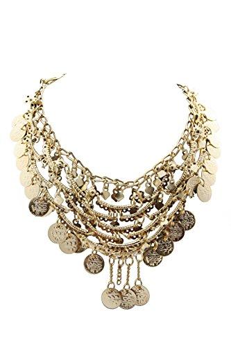 Egypt Bazar Halskette indischer Stil, als Bauchtanz, Tribal-Dance, Bollywood-Accessoire geeignet- Orientalischer-Schmuck in gold ()