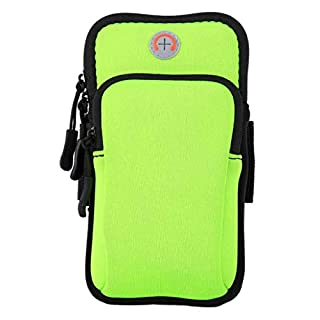 ACVIP Men Women Running Armband Outdoor Sports Fitness Arm Band Phone Holder Pouch Case with Earphone Hole, for Cellphone of Up to 6 inches (Neon Green)