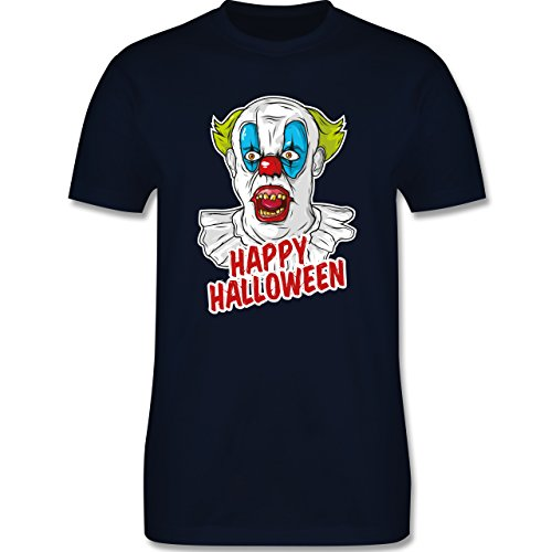Shirtracer Halloween - Happy Halloween - Clown - Herren T-Shirt Rundhals Navy Blau