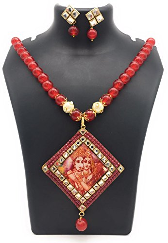 Satyam Kraft Traditional Kundan Red Pearl Temple Radha krishna Temple Necklace Set For Women for wedding/diwali jewellery/traditional jewellery/jewellery for women/peral jewellery/kundan jewellery/ethnic necklace/party necklace  available at amazon for Rs.349