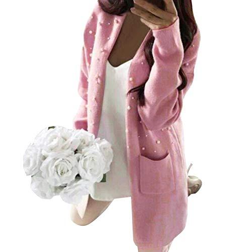 Rovinci Strickjacke Damen Casual Stricken Cardigan Perle Lose Outwear Strickmantel mit Taschen Kimono Sweater Langarmshirts Lang Offene Blazer Pullover Langarm Jacke Strick Mäntel Tops Tunika -
