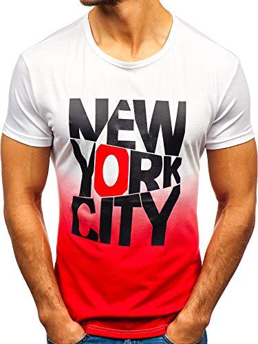 BOLF Herren T-Shirt mit Rundhalsausschnitt Print Aufdruck Täglicher Stil J.Style KY37 Weiß(Rot) S [3C3] | 05902646979540