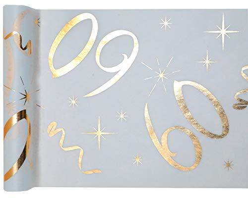 cama24com Tischläufer Vlies Zahl 60 Gold Geburtstag 5m Tischvlies Tischdekoration Deko mit Palandi® Sticker