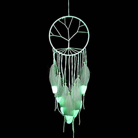 SZTARA Florescent Light Dream Catcher Car Home Wall Hanging Decor Tree of Life Feather Dreamcatcher Nets Length 23.6