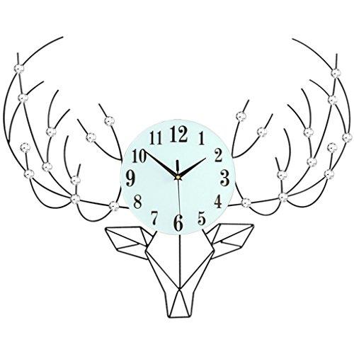Horloges Personnalité Nordique cerf tête Diamant Montre Salon Murale Moderne Minimaliste créative européenne décor à la Maison muet 20 Pouces