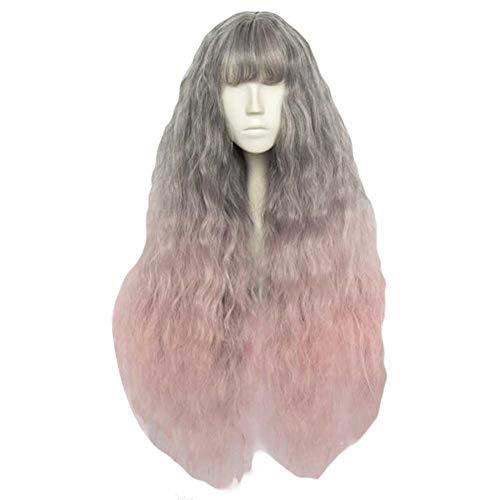 Ash Gris/Rose clair fading 65 cm 2 cosplay ton pleine perruque de longs cheveux bouclés