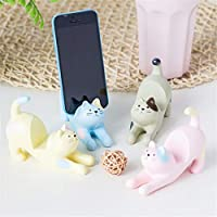 YuLinStyle Mobile phone desktop stand cute kitten cartoon mobile phone seat bed lazy bracket creative multi-function flat bracket Fine jewelry Decorations (Color : Gray)