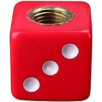 TOOGOO(R) 4 x Universal Tapa de Vastago de la valvula de aire del neumatico Con diseno de Dados Rojos Amarilla para Carro Coche Bici