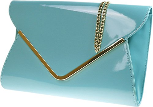 H&G Ladies New Patent Envelope Clutch  Evening  Prom  Formal Bag - Mint Green  Turquoise H&G Light Blue