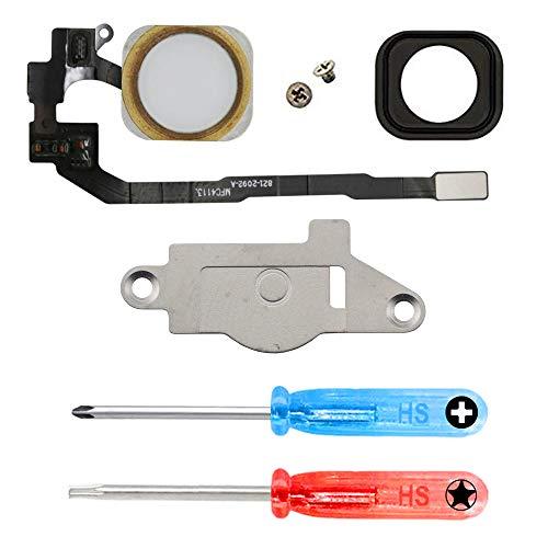 MMOBIEL Bouton Home pour iPhone 5S (Or) avec Câble Flex et Cadre en métal préinstallé + Tournevis x2