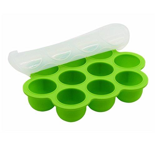 Homca contenitore per pappa bimbi in silicone con 10 stampini, contenitori per immagazzinaggio di stampi riutilizzabili alimenti per neonati domestici - verdura, purè di frutta, latte e cubi di ghiaccio - bpa free & fda approved (verde)
