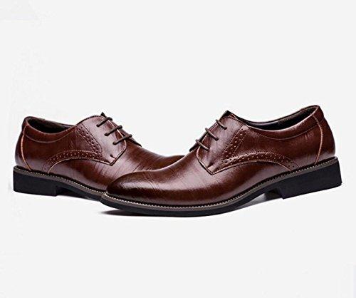 GRRONG Chaussures En Cuir Pour Hommes En Cuir Véritable Robe Formelle Daffaires Noir Brun Jaune Bleu brown