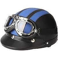 KKmoon Motorino Motociclo Casco Aperto del Fronte Mezzo Cuoio con Visiera UV Occhiali di Protezione Retro Vintage Stile 54-60cm Blu - Casco Blu