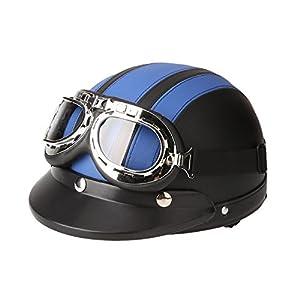 KKmoon Casco per Moto, Motociclo Casco Aperto in Mezza Pelle, Casco Invernale Antivento, con Visiera UV Occhiali Stile Vintage retrò 54-60 cm, Blu