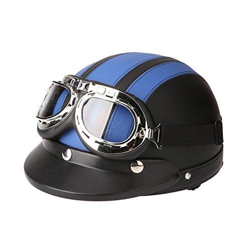KKmoon Motorrad Scooter gesichtsoffen halbe Leder Helm mit Visier UV-Schutzbrillen Retro Vintage-Stil 54-60cm(Blau)