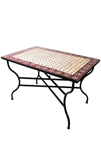 ORIGINAL Marokkanischer Mosaiktisch Gartentisch 120x80cm Groß eckig klappbar | Eckiger klappbarer Mosaik Esstisch Mediterran | als Klapptisch für Balkon oder Garten | Sonne Natur Bordeaux 120x80cm