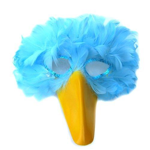 sacas Bleu Plume Masque d'Oiseau avec bec jaune