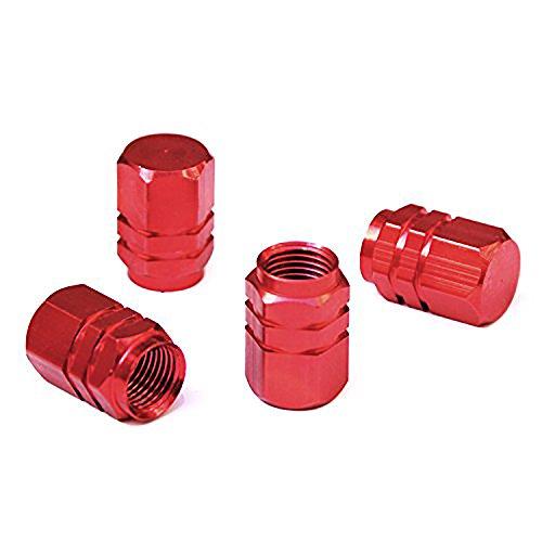 Ndier Tappi Valvole Pneumatici, Set di 4 PCS Cappucci per Valvole da Auto Coprivalvola in Lega di Alluminio per Pneumatici (Rosso)