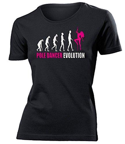 love-all-my-shirts Pole Dancer Evolution 2023 Damen T-Shirt (F-SW-Weiss-Pink) Gr. S (Tänzerin Damen-pink T-shirt)