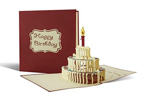 Happy Birthday-Karte zum Geburtstag als Glückwunschkarte, Pop-Up Geburtstagskarte, Torte mit Kerzen als Geschenkidee, G04