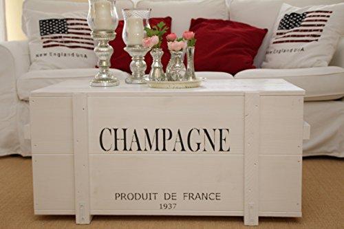 Uncle Joe´s Truhe Champagne Couchtisch Truhentisch im Vintage Shabby chic Style aus Massiv-Holz in Weiss mit Stauraum und Deckel Holzkiste Beistelltisch Landhaus Wohnzimmertisch Holztisch weiß Vintage Style Holz