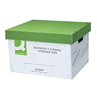 Q-CONNECT 327 x 387 x 250 mm Extra Strong Business Storage Box - Green/White (Pack of 10)