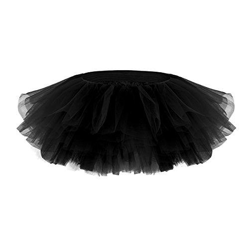 iEFiEL Damen Rock Tüll Schicht Ballet Tutu Tütü Unterkleid Ballett Tanz Rock mini Röcke Tanzkleid Schwarz One (Ballett Schwarzes Tutu)