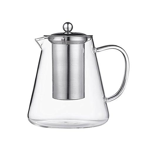 Qileyin Théière de 1200ml clair, Théière en verre résistant à la chaleur bouilloire à thé avec infuseur pour feuilles de thé Infuseur à thé en vrac en acier inoxydable, Gybl049