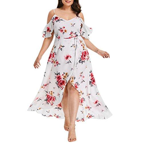 UFACE Large Size Lady Blumendruck Halter Schulterfrei Unregelmäßiges Kleid Kurzarm Kalt Schulter Boho Blumendruck Langes Kleid (3XL, Weiß) Pleated Ankle Strap