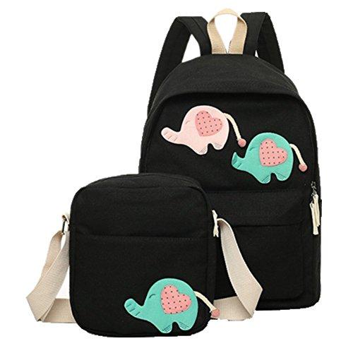 Ohmais 2PCS Rücksack Rucksäcke Rucksack Backpack Daypack Schulranzen Schulrucksack Wanderrucksack Schultasche Rucksack für Schülerin schwarz