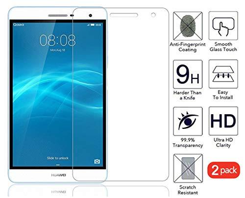 Domxteck (2er-Pack Bildschirmschutzfolie für Huawei MediaPad T2 7.0 Pro, [Kratzfestigkeit] 9H Härte 2.5D R&e Kante aus gehärtetem Glas-Bildschirmschutz